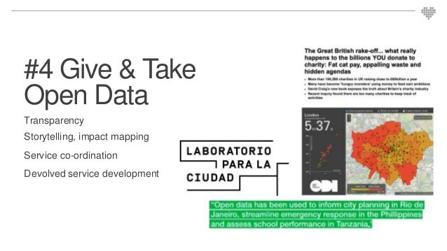 #4 Give & Take Open Data Transparency Storytelling, impact mapping Service co-ordination Devolved service development