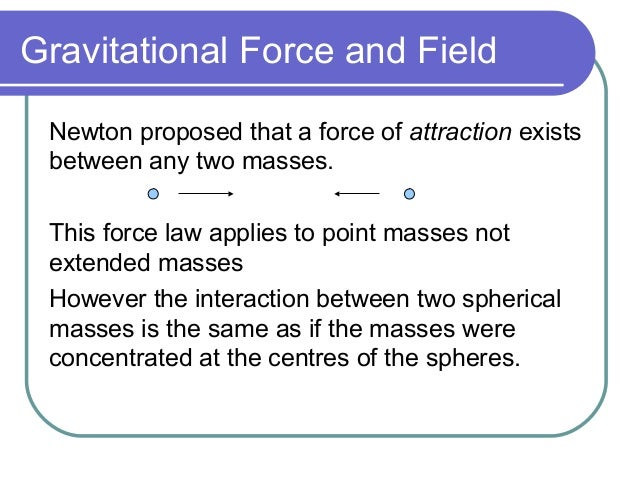an analysis of the gravity as a force of attraction that exists between any two masses When any object is moved then its speed is changed which is called velocity  while  there is another type of force of attraction that exists between two  objects.