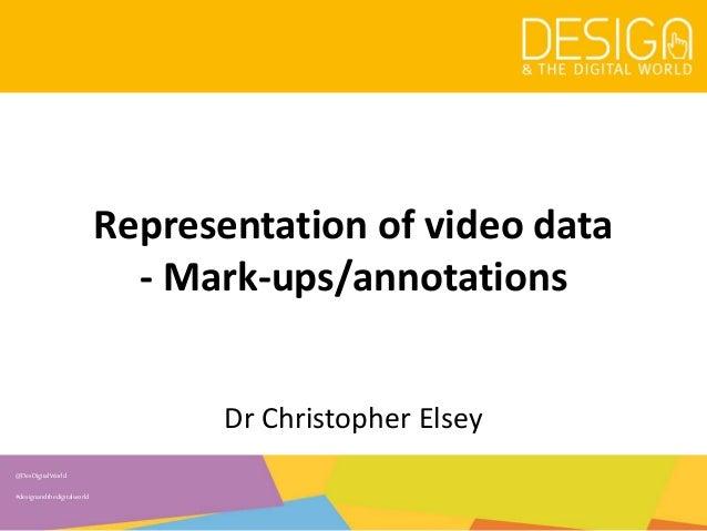 @DesDigitalWorld #designandthedigitalworld Representation of video data - Mark-ups/annotations Dr Christopher Elsey