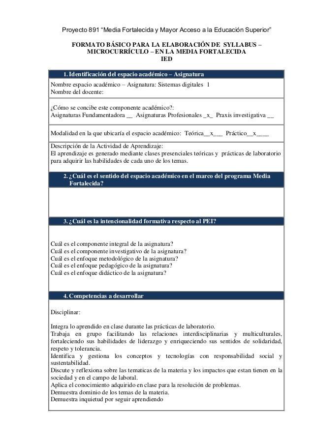 """Proyecto 891 """"Media Fortalecida y Mayor Acceso a la Educación Superior"""" FORMATO BÁSICO PARA LA ELABORACIÓN DE SYLLABUS – M..."""