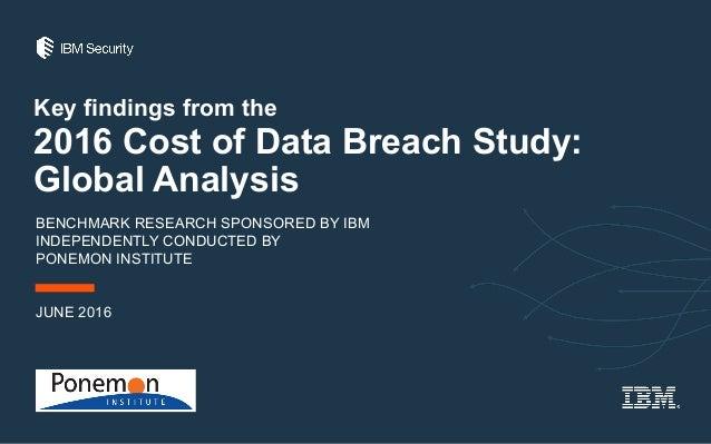 The 2016 Ponemon Cost of a Data Breach Study