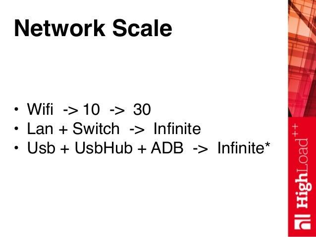 Network Scale • Wifi -> 10 -> 30 • Lan + Switch -> Infinite • Usb + UsbHub + ADB -> Infinite*