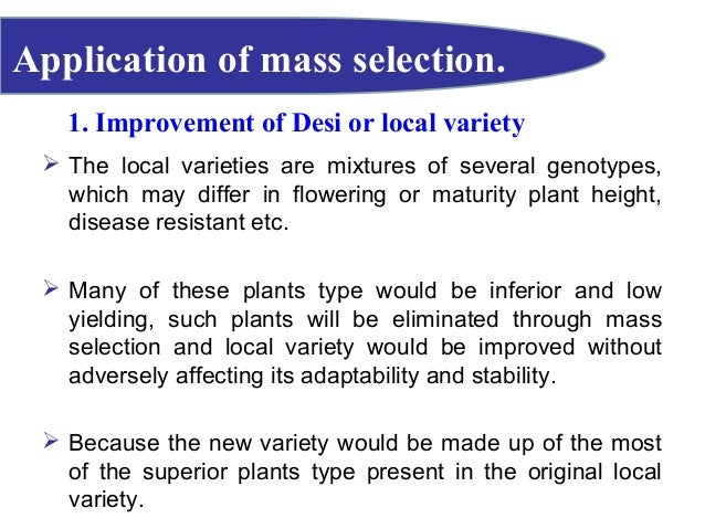 Crop improvement selection methods (with diagram).