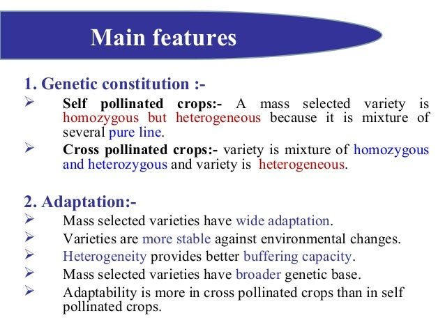 mass selection in self pollinated crops