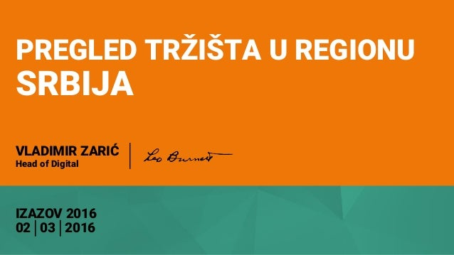 PREGLED TRŽIŠTA U REGIONU SRBIJA IZAZOV 2016 02│03│2016 VLADIMIR ZARIĆ Head of Digital