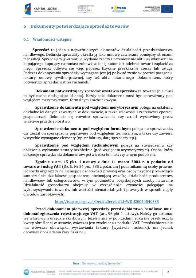 6.1 Dokumenty potwierdzające sprzedaż towarów Slide 2