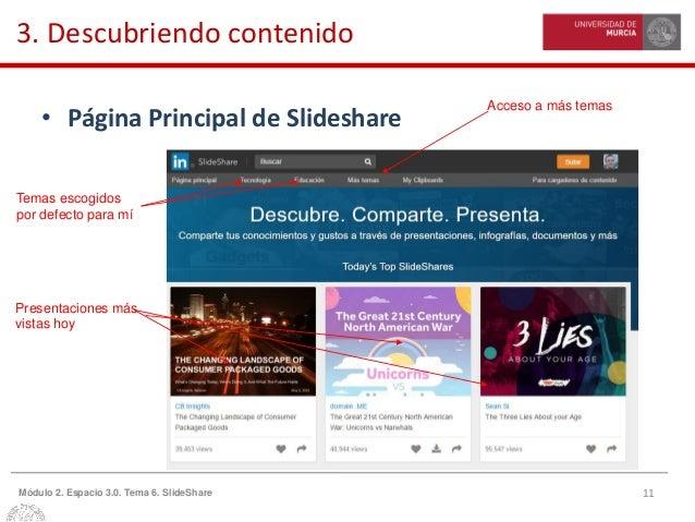 11Módulo 2. Espacio 3.0. Tema 6. SlideShare 3. Descubriendo contenido • Página Principal de Slideshare Temas escogidos por...