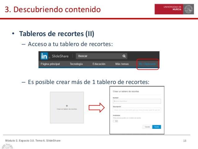 18Módulo 2. Espacio 3.0. Tema 6. SlideShare 3. Descubriendo contenido • Tableros de recortes (II) – Acceso a tu tablero de...