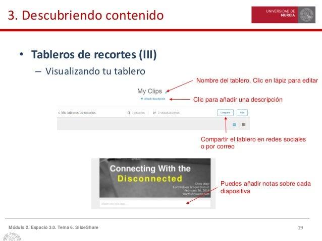 19Módulo 2. Espacio 3.0. Tema 6. SlideShare 3. Descubriendo contenido • Tableros de recortes (III) – Visualizando tu table...