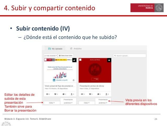 24Módulo 2. Espacio 3.0. Tema 6. SlideShare 4. Subir y compartir contenido • Subir contenido (IV) – ¿Dónde está el conteni...