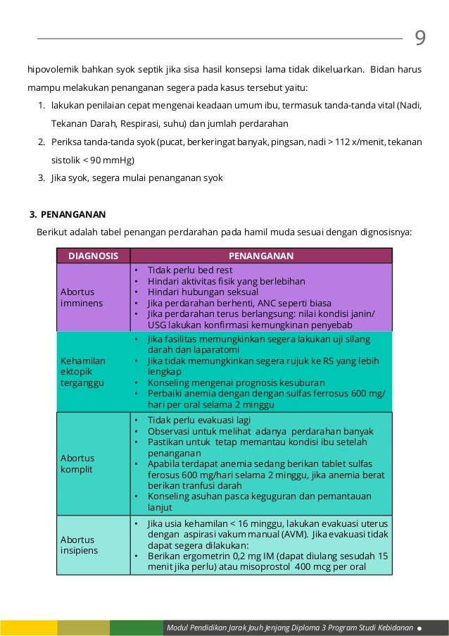 Modul Pendidikan Jarak Jauh Jenjang Diploma 3 Program Studi Kebidanan 9 hipovolemik bahkan syok septik jika sisa hasil kon...