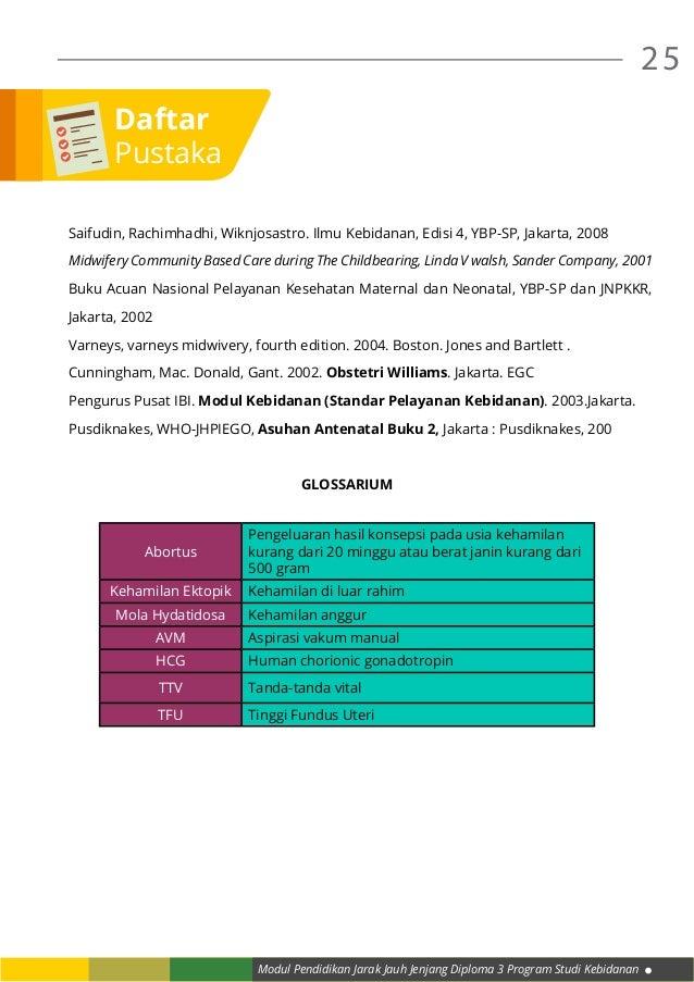 Modul Pendidikan Jarak Jauh Jenjang Diploma 3 Program Studi Kebidanan 25 Saifudin, Rachimhadhi, Wiknjosastro. Ilmu Kebidan...