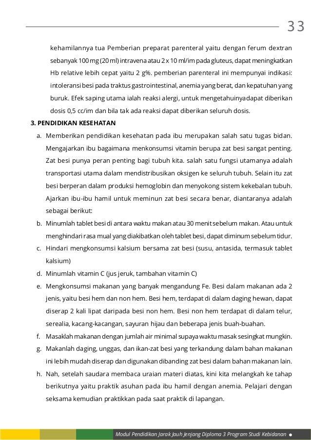 Modul Pendidikan Jarak Jauh Jenjang Diploma 3 Program Studi Kebidanan 33 kehamilannya tua Pemberian preparat parenteral ya...