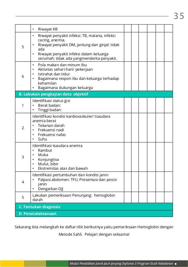 Modul Pendidikan Jarak Jauh Jenjang Diploma 3 Program Studi Kebidanan 35 • Riwayat KB 5 • Riwayat penyakit infeksi: TB, ...