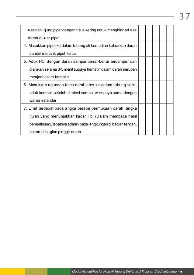 Modul Pendidikan Jarak Jauh Jenjang Diploma 3 Program Studi Kebidanan 37 usaplah ujung pipet dengan tisue kering untuk men...