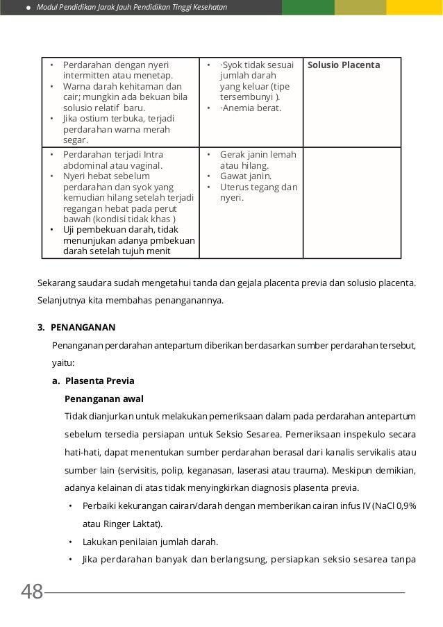 Modul Pendidikan Jarak Jauh Pendidikan Tinggi Kesehatan 48 • Perdarahan dengan nyeri intermitten atau menetap. • Warna d...