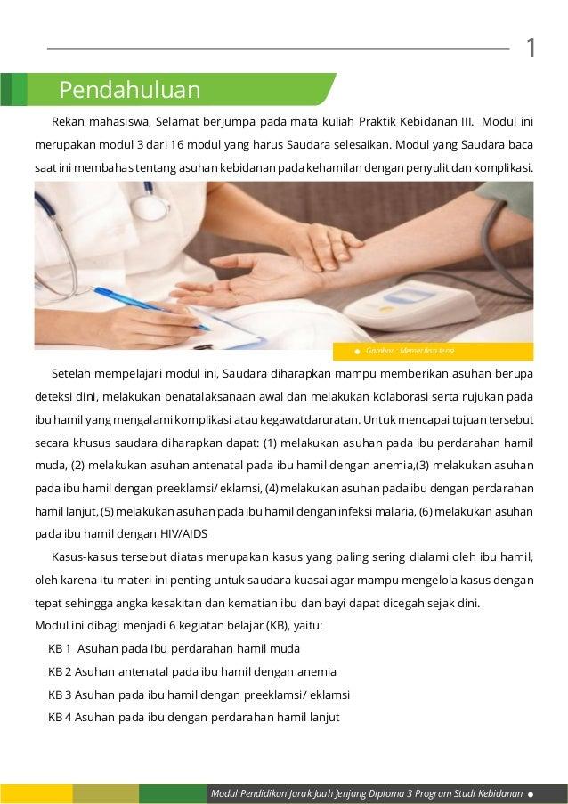 Modul Pendidikan Jarak Jauh Jenjang Diploma 3 Program Studi Kebidanan 1  Rekan mahasiswa, Selamat berjumpa pada mata kuli...