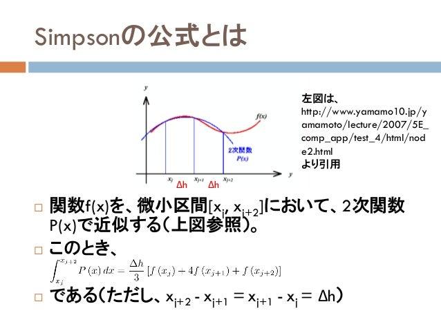 Simpsonの公式とは  関数f(x)を、微小区間[xj, xj+2]において、2次関数 P(x)で近似する(上図参照)。  このとき、  である(ただし、xj+2 - xj+1 = xj+1 - xj = Δh) 左図は、 http:...