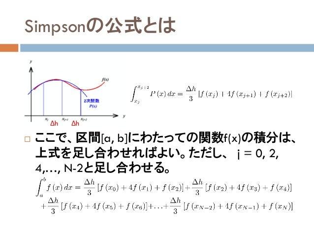 Simpsonの公式とは  ここで、区間[a, b]にわたっての関数f(x)の積分は、 上式を足し合わせればよい。ただし、 j = 0, 2, 4,…, N-2と足し合わせる。 ΔhΔh