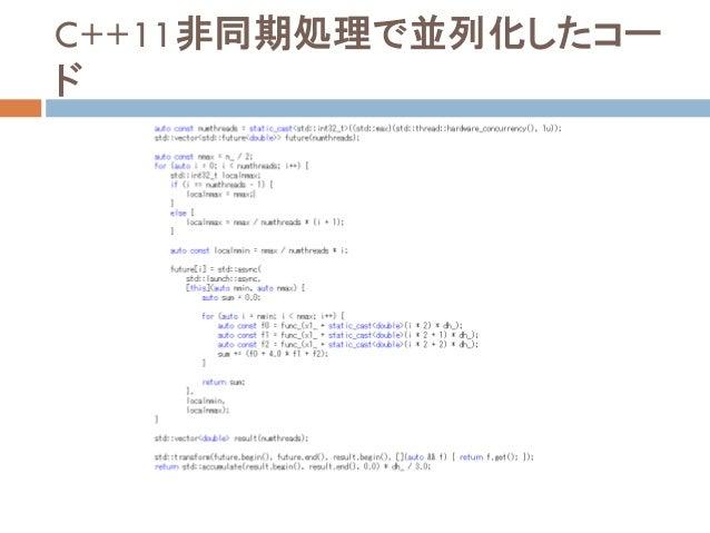 C++11非同期処理で並列化したコー ド