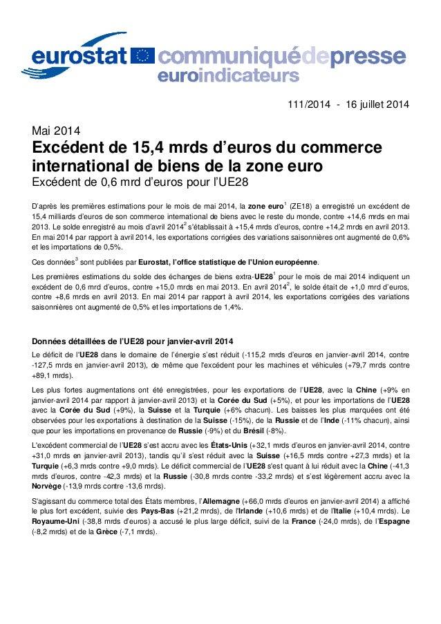 111/2014 - 16 juillet 2014 Mai 2014 Excédent de 15,4 mrds d'euros du commerce international de biens de la zone euro Excéd...