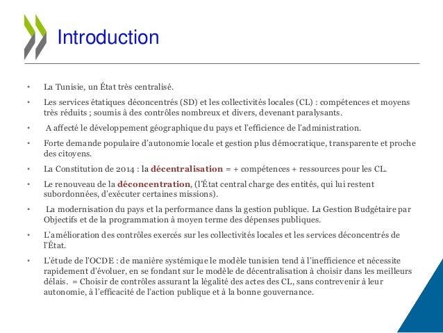 • La Tunisie, un État très centralisé. • Les services étatiques déconcentrés (SD) et les collectivités locales (CL) : comp...