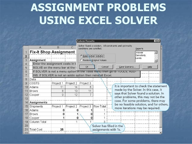 assignment problems assignment problems using excel solver 10