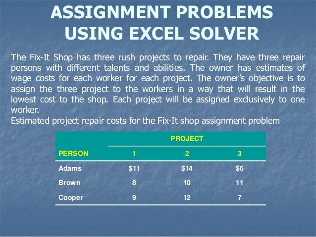 assignment problems assignment problems using excel solver