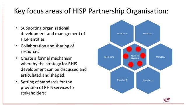 Key focus areas of HISP Partnership Organisation: • Supporting organisational development and management of HISP entities ...