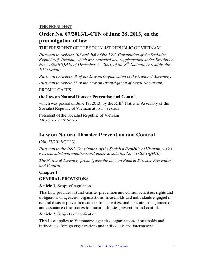 © Vietnam Law & Legal Forum 1 THE PRESIDENT Order No. 07/2013/L-CTN of June 28, 2013, on the promulgation of law THE PRESI...