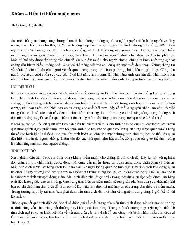 Khám – Điều trị hiếm muộn nam ThS. Giang Huỳnh Như Sau một thời gian chung sống nhưng chưa có thai, thông thường người ta ...
