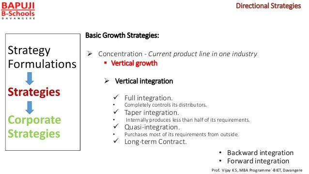 Basic Growth Strategies:  Concentration - Current product line in one industry  Vertical growth  Vertical integration ...
