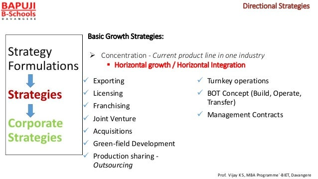 Basic Growth Strategies:  Concentration - Current product line in one industry  Horizontal growth / Horizontal Integrati...