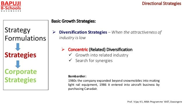 Basic Growth Strategies:  Diversification Strategies – When the attractiveness of industry is low  Concentric (Related) ...