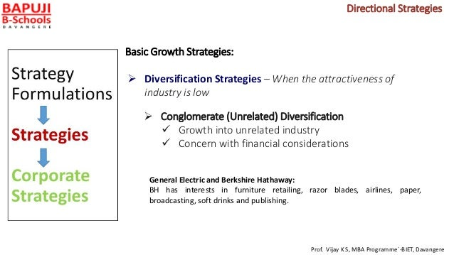 Basic Growth Strategies:  Diversification Strategies – When the attractiveness of industry is low  Conglomerate (Unrelat...