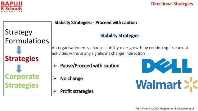 Stability Strategies: - Proceed with caution Stability Strategies An organisation may choose stability over growth by cont...