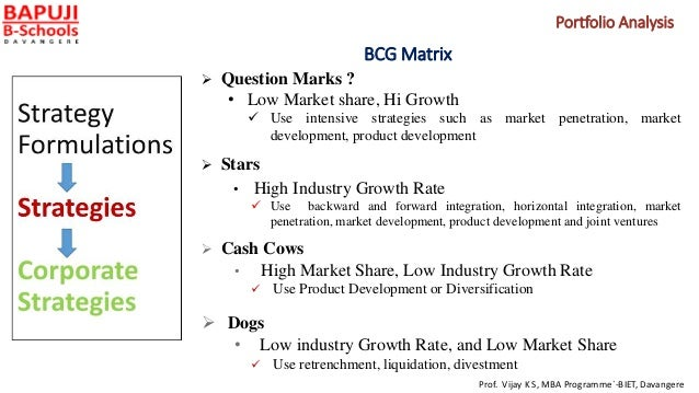 BCG Matrix  Question Marks ? • Low Market share, Hi Growth  Use intensive strategies such as market penetration, market ...