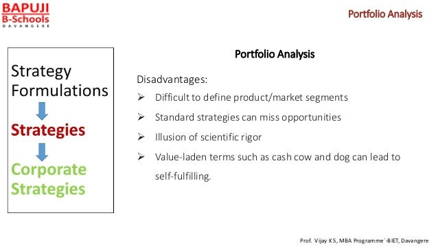 Portfolio Analysis Disadvantages:  Difficult to define product/market segments  Standard strategies can miss opportuniti...