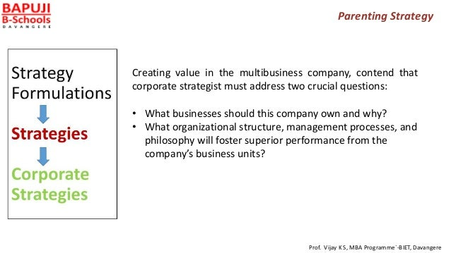 Parenting Strategy Creating value in the multibusiness company, contend that corporate strategist must address two crucial...
