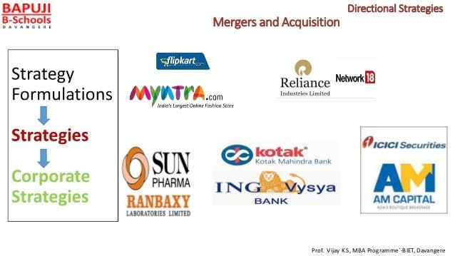 Mergers and Acquisition Prof. Vijay K S, MBA Programme`-BIET, Davangere Directional Strategies