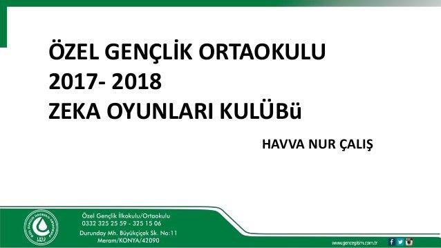 ÖZEL GENÇLİK ORTAOKULU 2017- 2018 ZEKA OYUNLARI KULÜBü HAVVA NUR ÇALIŞ