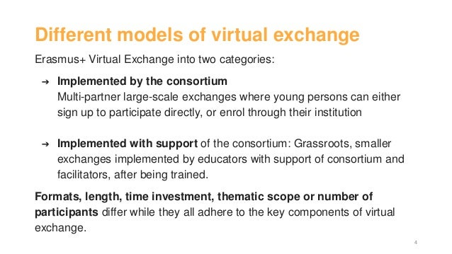 Different models of virtual exchange Erasmus+ Virtual Exchange into two categories: ➔ Implemented by the consortium Multi-...