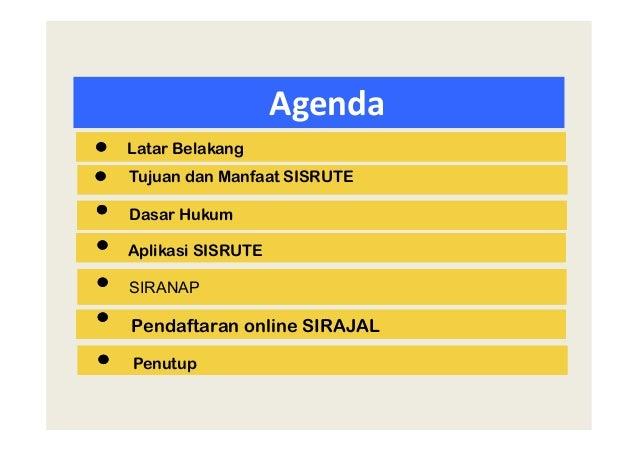 Agenda Tujuan dan Manfaat SISRUTE SIRANAP Aplikasi SISRUTE Pendaftaran online SIRAJAL Penutup Latar Belakang Dasar Hukum