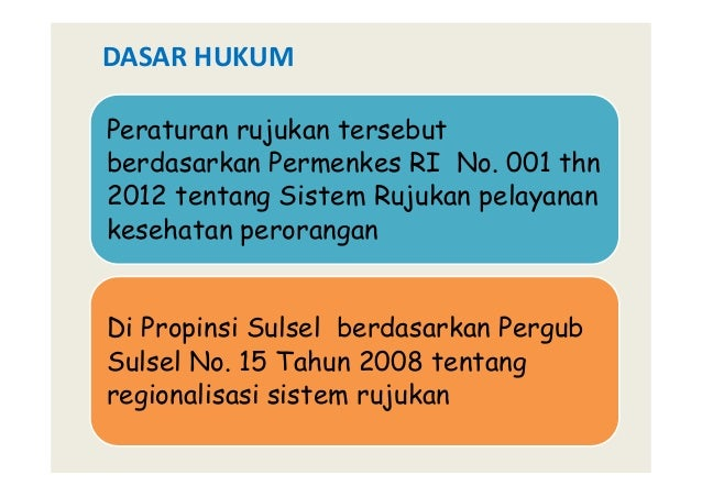 Peraturan rujukan tersebut berdasarkan Permenkes RI No. 001 thn 2012 tentang Sistem Rujukan pelayanan kesehatan perorangan...