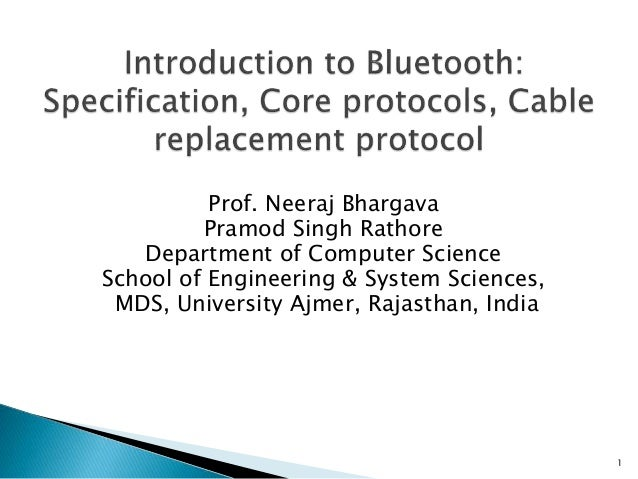 6 introduction to bluetooth specification, core protocols