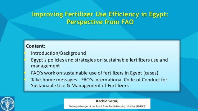 Improving Fertilizer Use Efficiency in Egypt: Perspective from FAO Content:  Introduction/Background  Egypt's policies a...