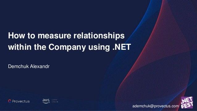 How to measure relationships within the Company using .NET Demchuk Alexandr ademchuk@provectus.com
