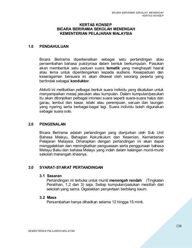138 BICARA BERIRAMA SEKOLAH MENENGAH KERTAS KONSEP KERTAS KONSEP BICARA BERIRAMA SEKOLAH MENENGAH KEMENTERIAN PELAJARAN MA...