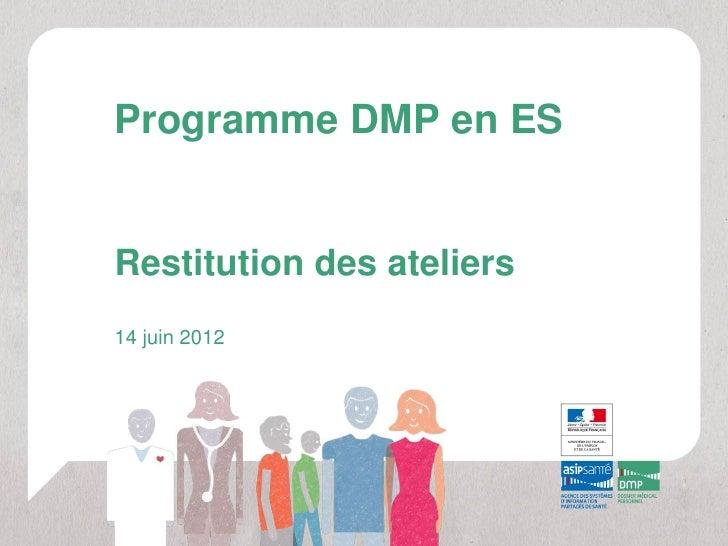 Programme DMP en ESRestitution des ateliers14 juin 2012