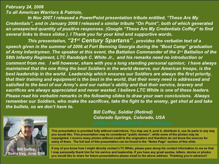 February 24, 2008 To all American Warriors & Patriots, In Nov 2007 I released a PowerPoint presentation tribute entitled, ...